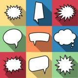 Uppsättningen av komiskt ballonganförande för nio tecknad film bubblar i plan stil Arkivbild