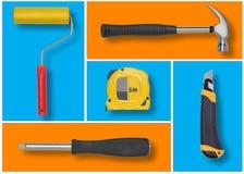 Uppsättningen av konstruktionshjälpmedel i blåa och orange rektanglar gillar mosaiken Arkivfoto