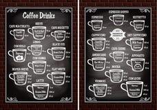 Uppsättningen av koppar med olikt kaffe dricker för restaurangmeny vektor illustrationer