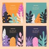 Uppsättningen av kort på tropisk djungel lämnar tema Fotografering för Bildbyråer