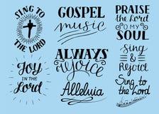 Uppsättningen av 8 kristna citationstecken för handbokstäver sjunger till Herren _ Jubla alltid Berömnolla min anda Evangeliummus royaltyfri illustrationer