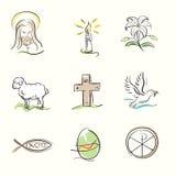 Uppsättningen av kristna symboler för påsk och våren räcker utdragna illustrationer stock illustrationer