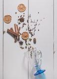 Uppsättningen av kryddor för framställning av funderat vin Arkivfoton