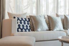 Uppsättningen av kuddar och soffan i klassisk vardagsrum utformar Royaltyfri Bild
