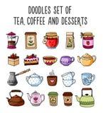 Uppsättningen av kulört skissar av tekannor, koppar, te, kaffe vektor illustrationer