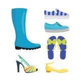 Uppsättningen av kvinnors skor sänker designvektorsamlingen av den läder färgade mockasinkängaillustrationen Royaltyfri Foto