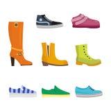 Uppsättningen av kvinnors skor sänker designvektorsamlingen av den läder färgade mockasinkängaillustrationen Arkivfoto