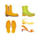 Uppsättningen av kvinnors skor sänker designvektorsamlingen av den läder färgade mockasinkängaillustrationen Arkivbild