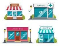 Uppsättningen av lägenheten shoppar byggnadsfasadsymboler Vektorillustration för lokal design för marknadslagerhus Shoppa fasadby arkivfoton
