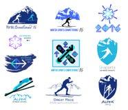 Uppsättningen av längdlöpning, vintersportar förser med märke för logoer och etiketter Arkivfoto