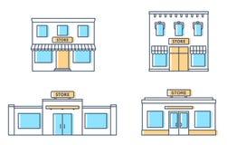 Uppsättningen av lagret, shoppar, den mini- gallerian Lagra framdelar, lägenhetstil royaltyfri illustrationer