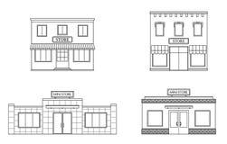 Uppsättningen av lagret, shoppar, den mini- gallerian Lagra framdelar, lägenhetstil stock illustrationer