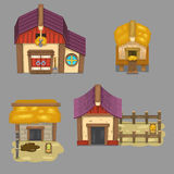 Uppsättningen av lantliga byggnader skapar din egen tecknad filmlantgård Modiga tillgångar Arkivbild