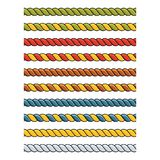 Uppsättningen av ljust mångfärgat dekorativt snör åt siden- kablar royaltyfri illustrationer