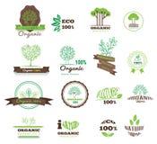 Uppsättningen av logoer, stämplar, förser med märke, etiketter för naturprodukter, lantgårdar Royaltyfria Foton