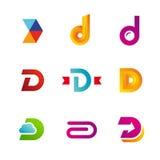 Uppsättningen av logosymboler för bokstav D planlägger mallbeståndsdelar vektor illustrationer