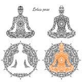 Uppsättningen av lotusblomma poserar med prydnaden Vektor Illustrationer
