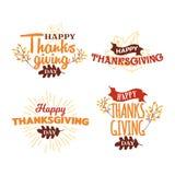 Uppsättningen av lycklig tacksägelsedagtypografi med höstnedgången fattar trädillustrationen Logo emblem, klistermärke, baner, ko stock illustrationer