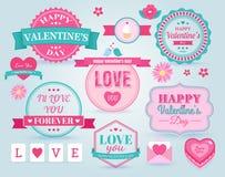 Uppsättningen av lyckliga valentins dag förser med märke och etiketter Arkivfoto