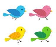 Uppsättningen av lyckligt behandla som ett barn fågeln i plan stil Arkivbilder