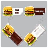 Uppsättningen av märker och klistermärkear med hamburgare. Royaltyfria Bilder