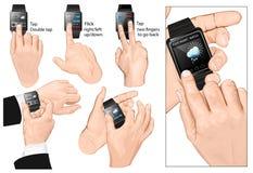 Uppsättningen av mång--handlaget gör en gest för Smart-klocka Arkivbild