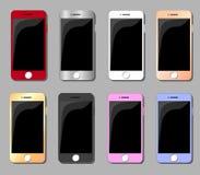 Uppsättningen av mångfärgade smartphones sänker illustrationen Royaltyfri Foto