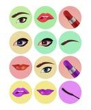Uppsättningen av makeup synar läppstiftsymboler Arkivbilder