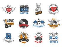 Uppsättningen av mallar för etiketter för tappning den musikaliska drog handen älskar musikaliska beståndsdelar för designvektori Fotografering för Bildbyråer