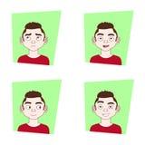 Uppsättningen av manansiktsuttryckhipsteren Guy With Different Emotions On vänder mot Royaltyfri Fotografi
