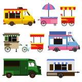 Uppsättningen av mat åker lastbil och cyklar för kommersiellt bruk göra sammandrag för knappfärger för bakgrund den blåa vektorn  vektor illustrationer