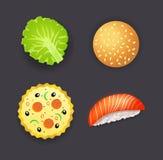 Uppsättningen av matställen, pizza, hamburgaren, sushi och sallad spricker ut Royaltyfri Foto