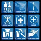 Uppsättningen av medicinska symboler i blått kvadrerar bakgrund vektor illustrationer