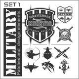 Uppsättningen av militär lappar logoer, emblem och designbeståndsdelar Grafisk mall vektor illustrationer