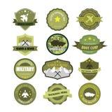 Uppsättningen av militär och krigsmakt förser med märke och etiketter Royaltyfria Bilder