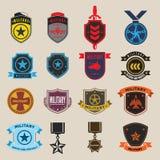 Uppsättningen av militär och krigsmakt förser med märke och etiketter Arkivbilder