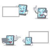 Uppsättningen av minnestavlateckenet med telefonbärbar datorbrädet poserar stock illustrationer
