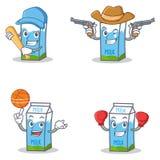 Uppsättningen av mjölkar askteckenet med boxning för baseballcowboykorg vektor illustrationer