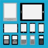 Uppsättningen av mobilen ringer och tablets Royaltyfri Fotografi