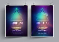 Uppsättningen av modellaffischmallar eller reklamblad för ett indie vaggar konsert Inbjudan till musikfestivalen, nattparti stock illustrationer