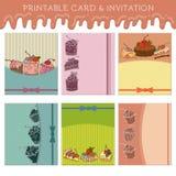 Uppsättningen av muffin cards mallen Royaltyfri Bild