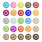 Uppsättningen av 16 nollställde symboler eller förnyar knappar Arkivfoto