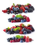 Uppsättningen av nya frukter och bär isolerade en vit bakgrund Mogna blåbär, björnbär, vinbär, hallon och strawberrie Royaltyfri Foto