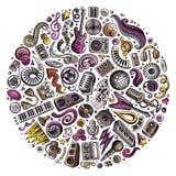 Uppsättningen av objekt för musikal för vektortecknad filmklotter samlade i en cirkel Royaltyfria Foton