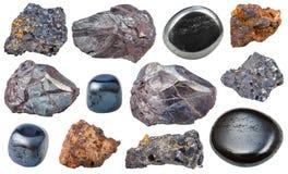 Uppsättningen av olik hematite vaggar och gemstones arkivfoto