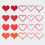 Uppsättningen av olik hjärta formar symboler i moderna röda färger Arkivfoto