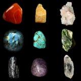Uppsättningen av olik mineral vaggar och stenar Royaltyfri Fotografi