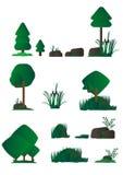 Uppsättningen av olik tecknad filmflora, träskväxter i plan design, buskar, träd, vaggar Videospel stock illustrationer