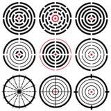 Uppsättningen av olik vektor 9 specificerade högt crosshairs Mål Arkivbilder