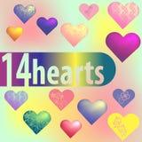 Uppsättningen av 14 olika hjärtor planlägger på en suddig bakgrund stock illustrationer